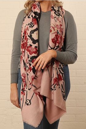 Abstract Floral and Vine Scarf Pink