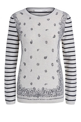 Oui Fine Sweater Black  and White Paisley