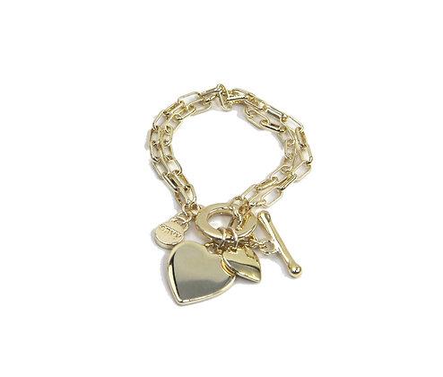 Envy Gold Heart Bracelet with T bar