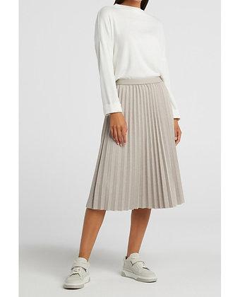 Yaya Pleated Jersey Skirt Grey Beige