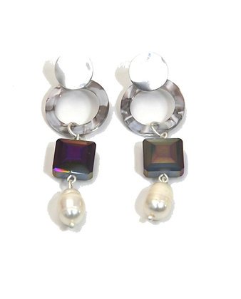 Envy Statement Earrings with Hoops and Pearls