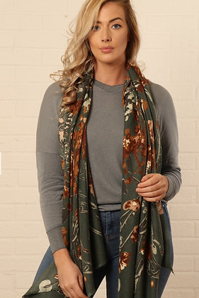 Abstract Floral and Vine Scarf Khaki