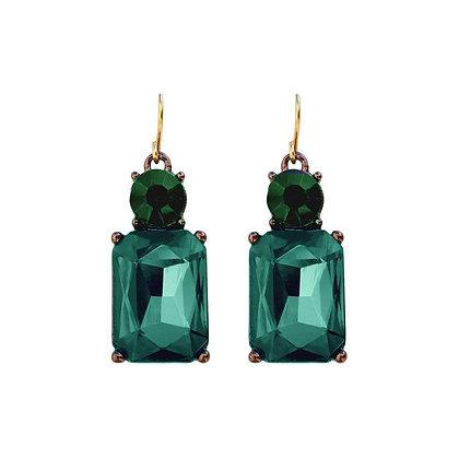 Last True Angel Deco Earrings Emerald Green
