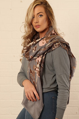 Abstract Floral and Vine Scarf Grey