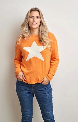 CLuella Classic Star Cashmere Jumper Tangerine