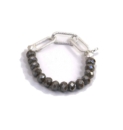 Envy Silver Three Loop Bracelet with grey beads