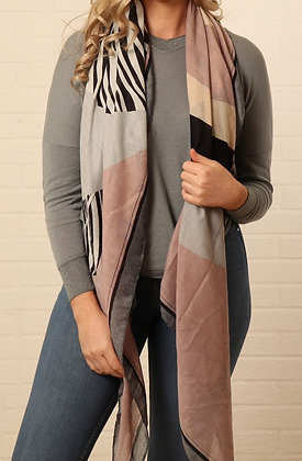 Grey and Pink Block Stripe Scarf