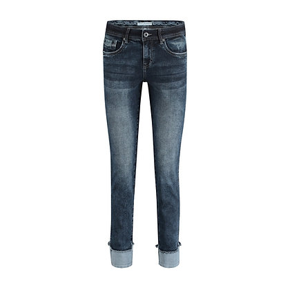 Red Button Lulu Turn-up Jeans. Blue