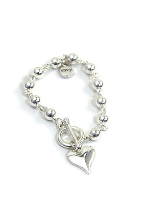 Envy Round Bead Heart Bracelet with T bar Silver