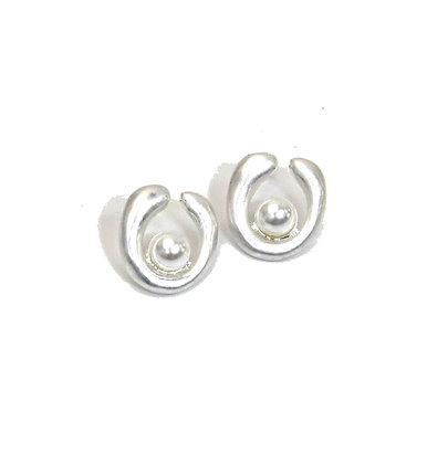 Envy Pearl and Silver Swirl  Stud Earrings