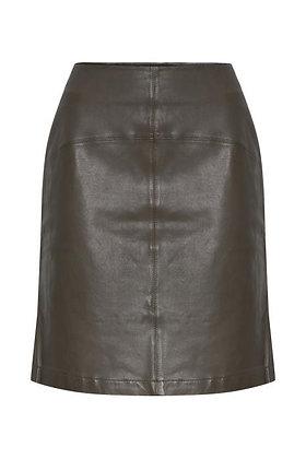 Pulz Viviane Leather Skirt Brown