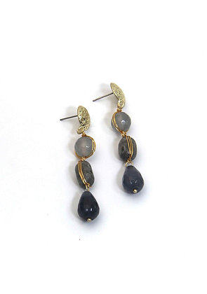Envy gold and grey drop earrings.