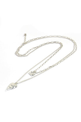 Envy Long Heart Layer Necklace Silver