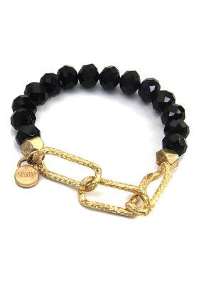 Envy Gold Three Loop bracelet with Black beads