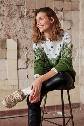 Oui Bandana Sweater Green