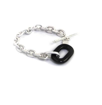 Envy Silver bracelet with Black Loop detail