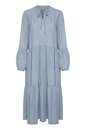 Pulz Chambray Maxi Dress Light Blue
