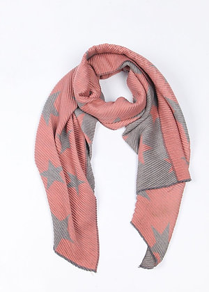 Light Pink and Grey Star Scarf