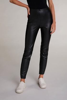 Oui Black Faux Leather Stretch Leggings