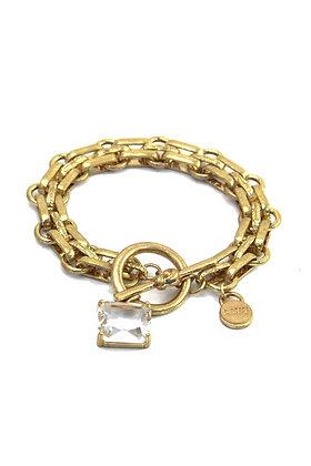 Envy Chunky Gold  Bracelet with Chrystal Charm