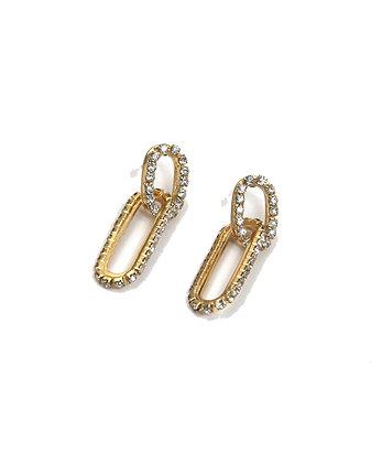 Envy Linked Gold Hoop Earrings with Diamante