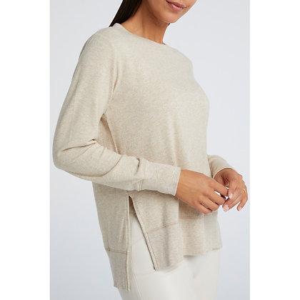 Yaya Brushed Sweater With Splits Beige