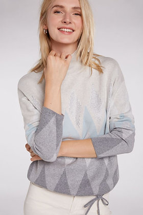 Oui Diamond Sweater Blue and Grey