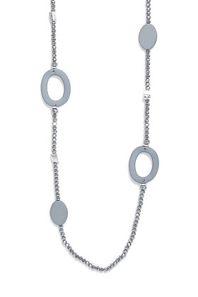 Envy Necklace Grey Beads and Hoops
