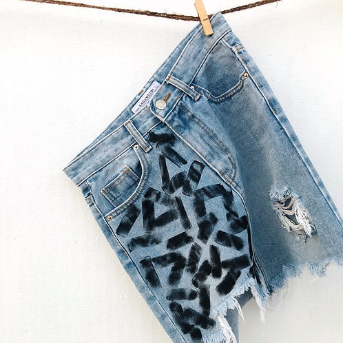 Hanpainted Denim Skirt (Size : 26)