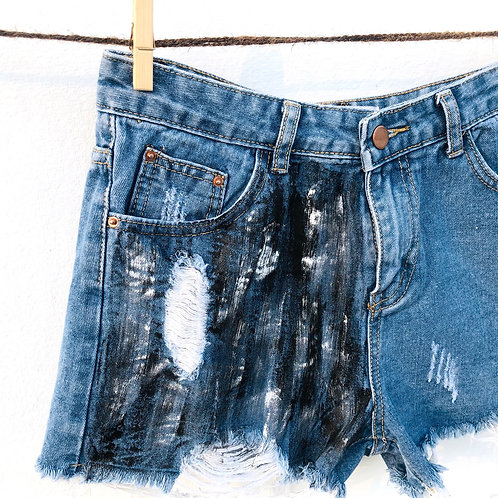 Handpainted Denim Shorts (Size : 28)