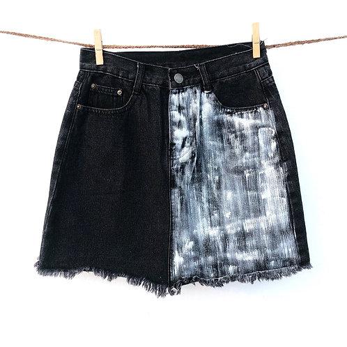 Handpainted Washed Black Denim Skirt (Size : 26)