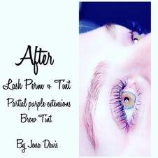 Lash Lift and Tint w/purple accents
