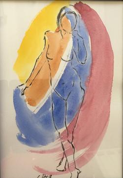aquarelle femme debout