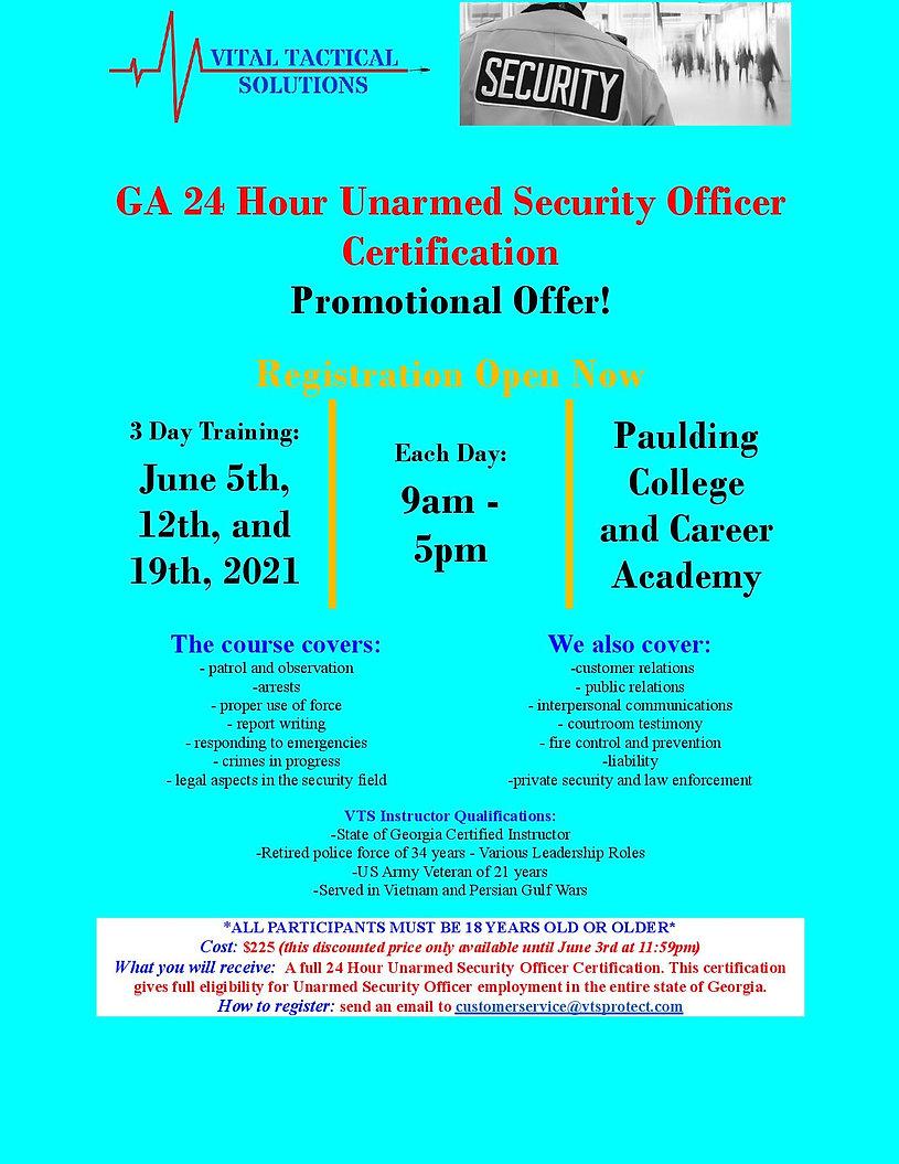 VTS Unarmed Security Officer Certificati