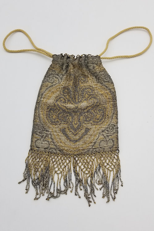 Vintage - Antique beaded drawstring purse