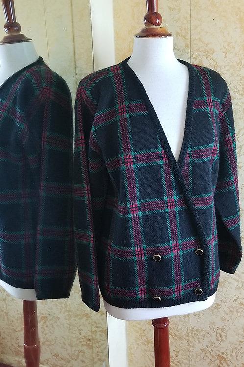 Vintage 80s Plaid Pendleton Sweater Jacket