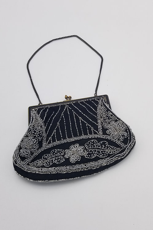 Vintage - Antique black and silver beaded purse