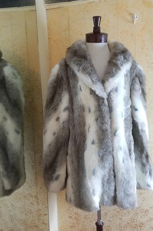 "Olympia faux ""Snow Leopard"" furry Stadium Jacket 1980s"