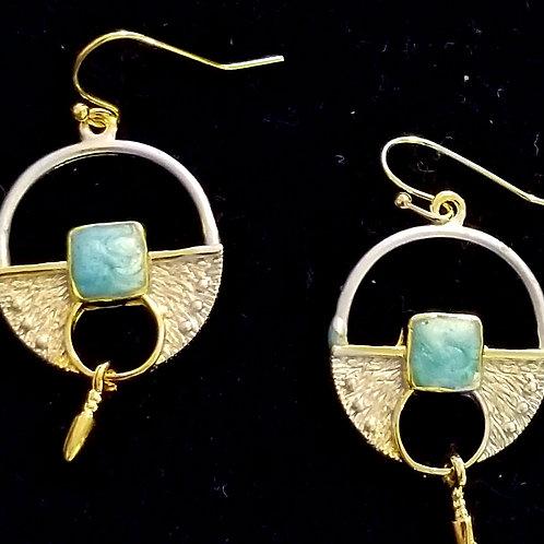 Turquoise goldtone disk earrings