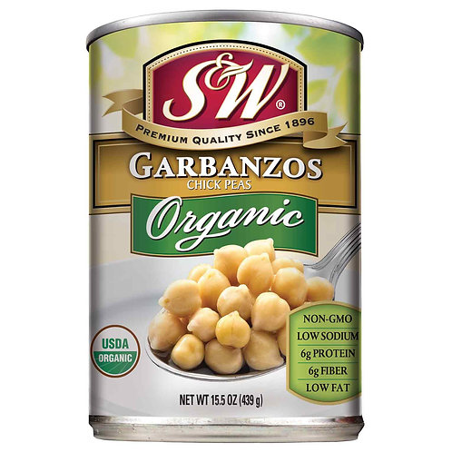 S & W Canned Organic Garbanzo Beans 15oz