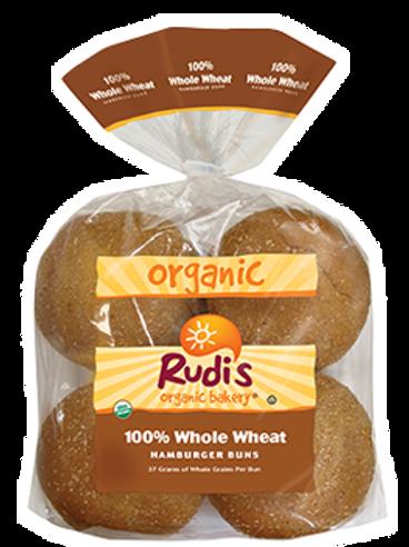 100% Whole Wheat Hamburger Buns / 7 ct