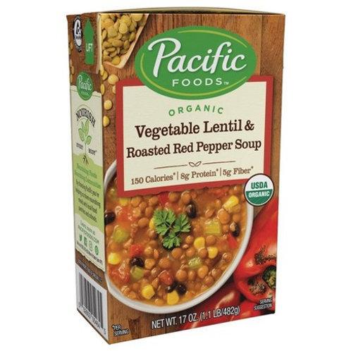 Pacific Foods Vegetables Lentil Roasted Pepper Soup 17oz