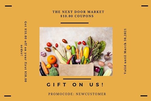The Next Door Market $10.00 off Coupon Card
