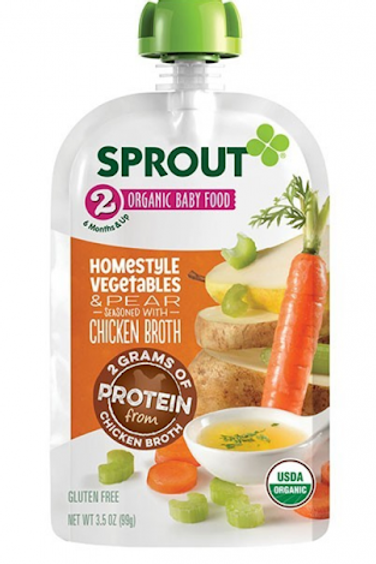 Sprout Pak Homestyle Veggie, Pears and Chicken Broth 3.5oz