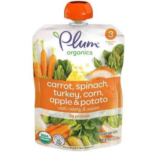 Plum Organic/ carrot, spinach, turkey, corn, apple and potato