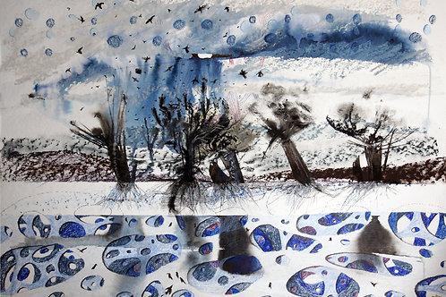 Spring first rain - original genre artwork