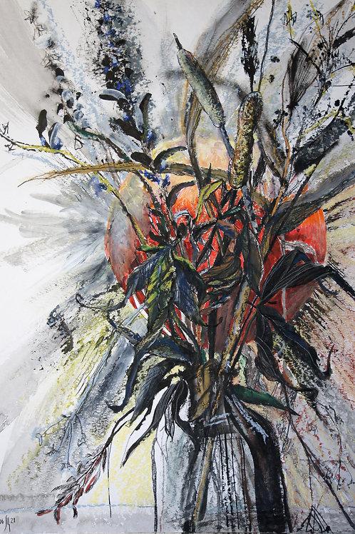 Field herbs. Hot - original flower artwork