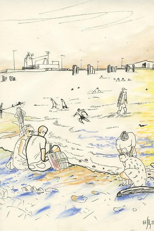 Wild beach of Vasiliy Island - urban sketch