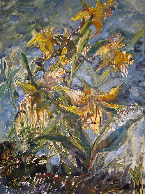 Country sketch. Yellow lilies - original oil painting