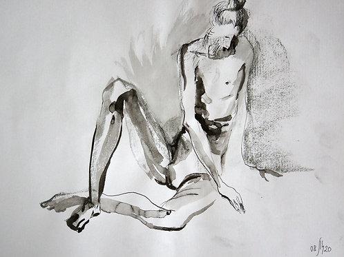 Hanan nude male №20157 - original male figurative sketch
